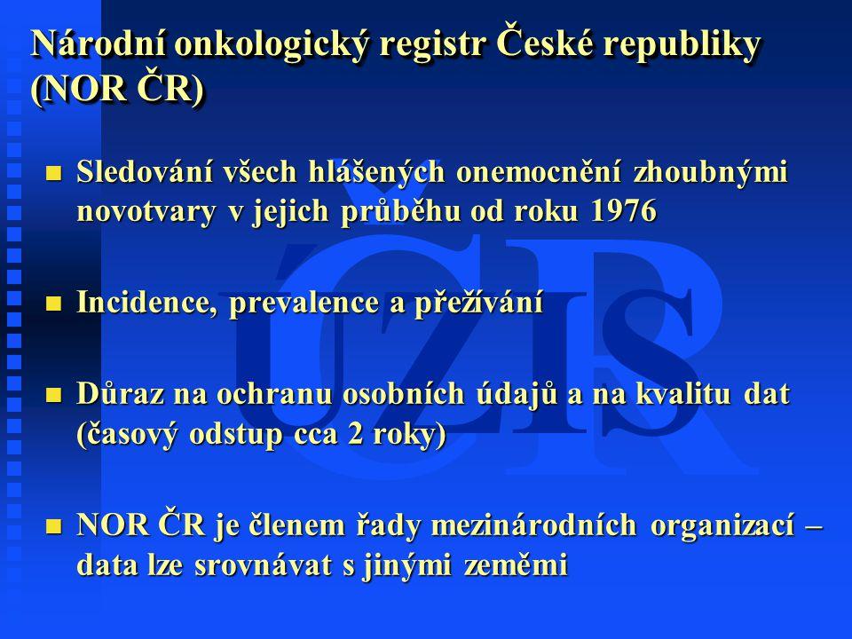 ČR ÚZIS Národní onkologický registr České republiky (NOR ČR) n Sledování všech hlášených onemocnění zhoubnými novotvary v jejich průběhu od roku 1976