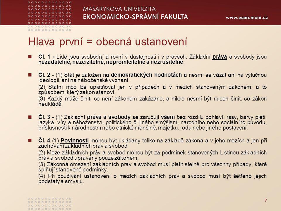 www.econ.muni.cz Hlava první = obecná ustanovení Čl.