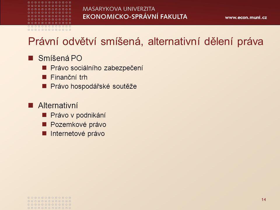 www.econ.muni.cz 14 Právní odvětví smíšená, alternativní dělení práva Smíšená PO Právo sociálního zabezpečení Finanční trh Právo hospodářské soutěže Alternativní Právo v podnikání Pozemkové právo Internetové právo