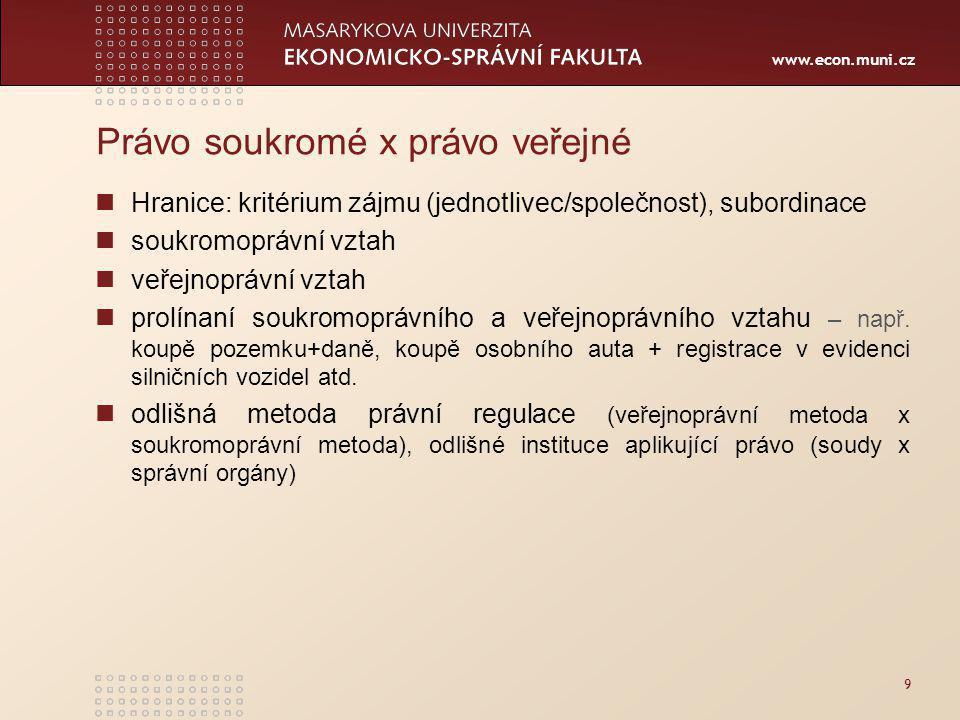 www.econ.muni.cz Právo soukromé x právo veřejné Hranice: kritérium zájmu (jednotlivec/společnost), subordinace soukromoprávní vztah veřejnoprávní vztah prolínaní soukromoprávního a veřejnoprávního vztahu – např.