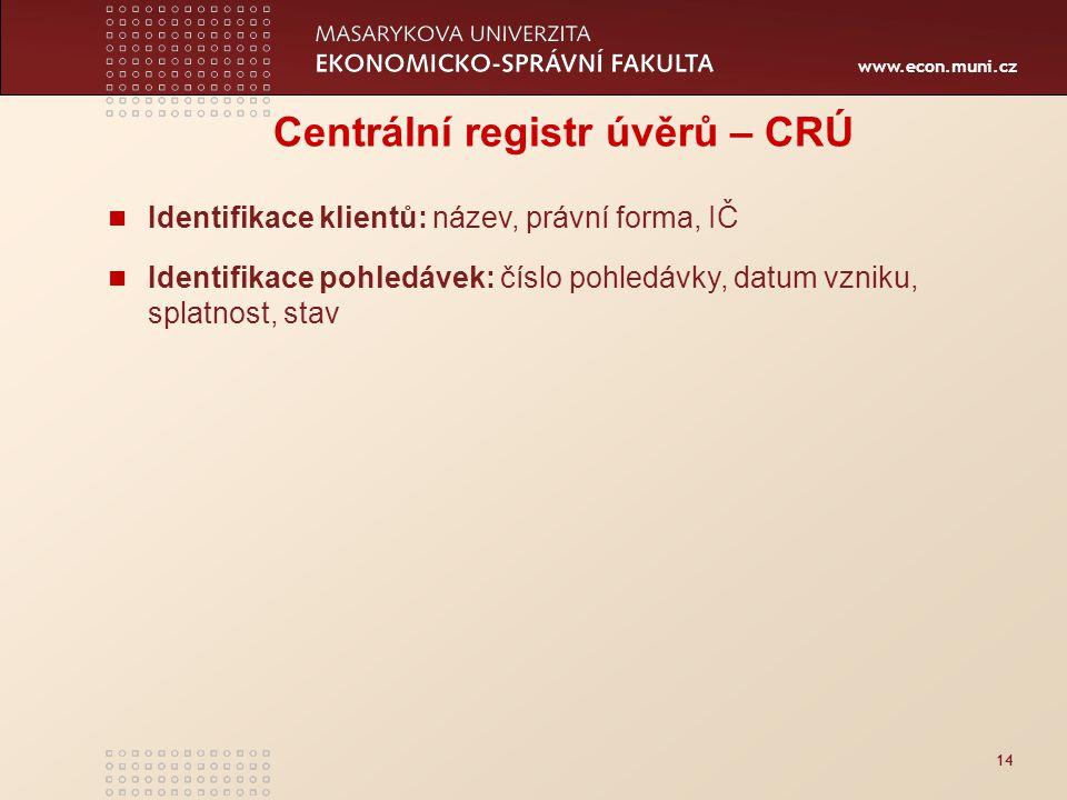 www.econ.muni.cz 14 Centrální registr úvěrů – CRÚ Identifikace klientů: název, právní forma, IČ Identifikace pohledávek: číslo pohledávky, datum vzniku, splatnost, stav