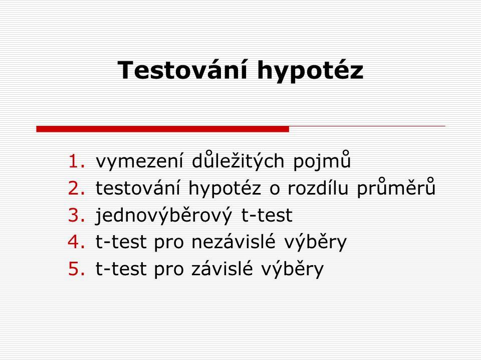 Testování hypotéz 1.vymezení důležitých pojmů 2.testování hypotéz o rozdílu průměrů 3.jednovýběrový t-test 4.t-test pro nezávislé výběry 5.t-test pro závislé výběry