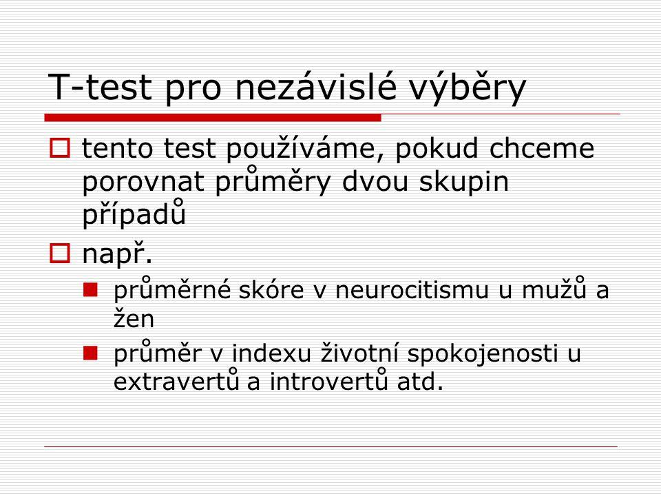 T-test pro nezávislé výběry  tento test používáme, pokud chceme porovnat průměry dvou skupin případů  např. průměrné skóre v neurocitismu u mužů a ž
