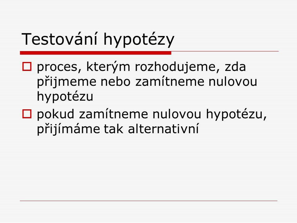Testování hypotézy  proces, kterým rozhodujeme, zda přijmeme nebo zamítneme nulovou hypotézu  pokud zamítneme nulovou hypotézu, přijímáme tak alternativní