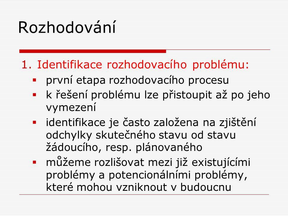 R ozhodování 1.Identifikace rozhodovacího problému:  první etapa rozhodovacího procesu  k řešení problému lze přistoupit až po jeho vymezení  ident