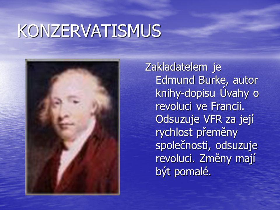 KONZERVATISMUS Zakladatelem je Edmund Burke, autor knihy-dopisu Úvahy o revoluci ve Francii. Odsuzuje VFR za její rychlost přeměny společnosti, odsuzu