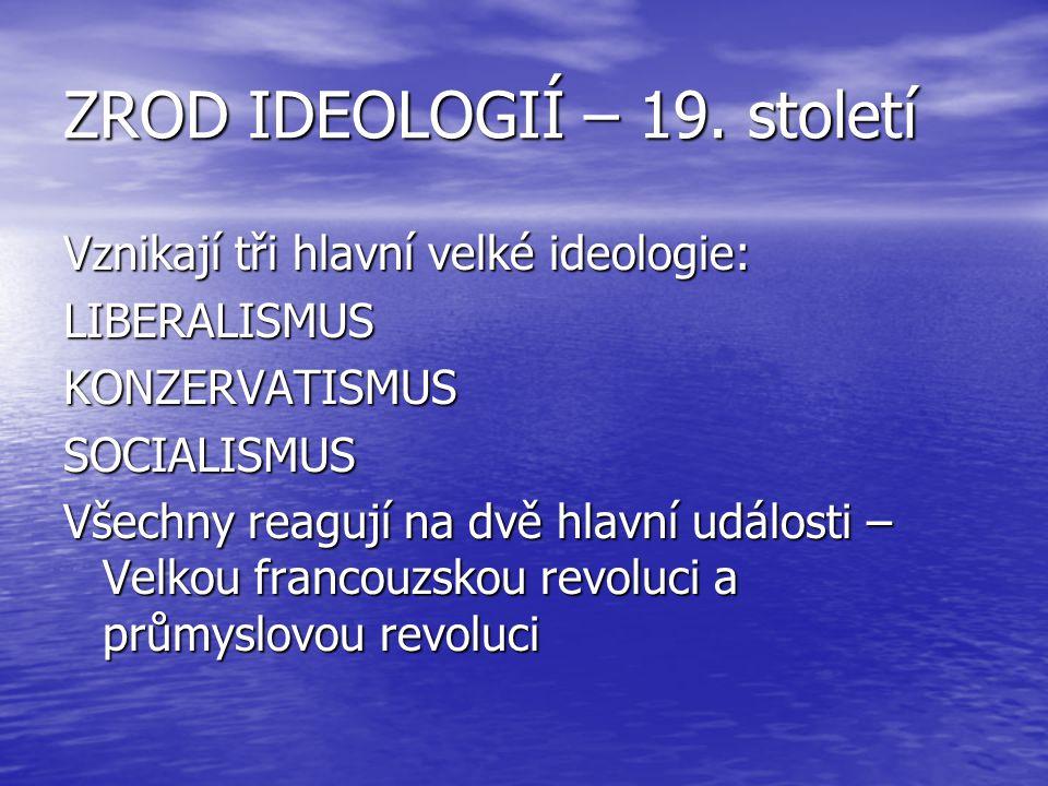 ZROD IDEOLOGIÍ – 19. století Vznikají tři hlavní velké ideologie: LIBERALISMUSKONZERVATISMUSSOCIALISMUS Všechny reagují na dvě hlavní události – Velko