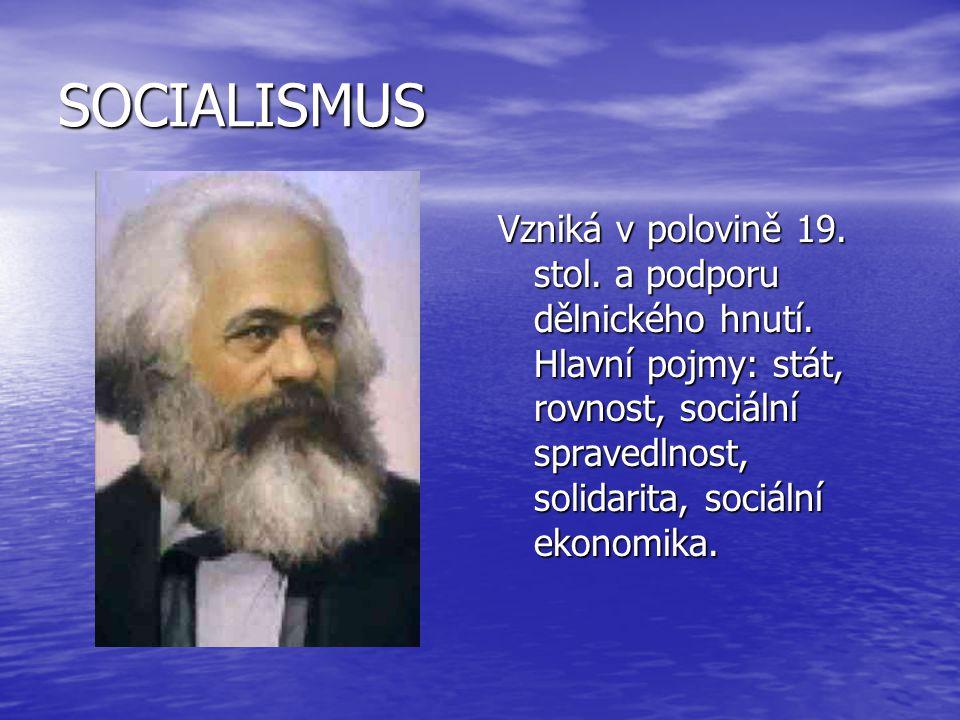 SOCIALISMUS Vzniká v polovině 19. stol. a podporu dělnického hnutí. Hlavní pojmy: stát, rovnost, sociální spravedlnost, solidarita, sociální ekonomika