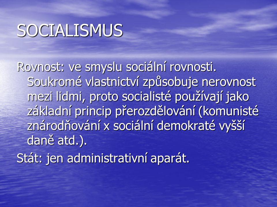 SOCIALISMUS Rovnost: ve smyslu sociální rovnosti. Soukromé vlastnictví způsobuje nerovnost mezi lidmi, proto socialisté používají jako základní princi