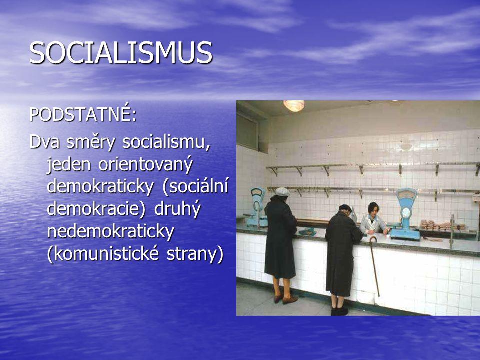 SOCIALISMUS PODSTATNÉ: Dva směry socialismu, jeden orientovaný demokraticky (sociální demokracie) druhý nedemokraticky (komunistické strany)