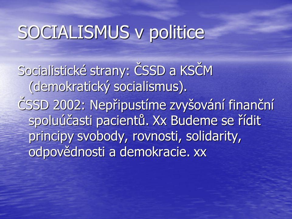 SOCIALISMUS v politice Socialistické strany: ČSSD a KSČM (demokratický socialismus). ČSSD 2002: Nepřipustíme zvyšování finanční spoluúčasti pacientů.