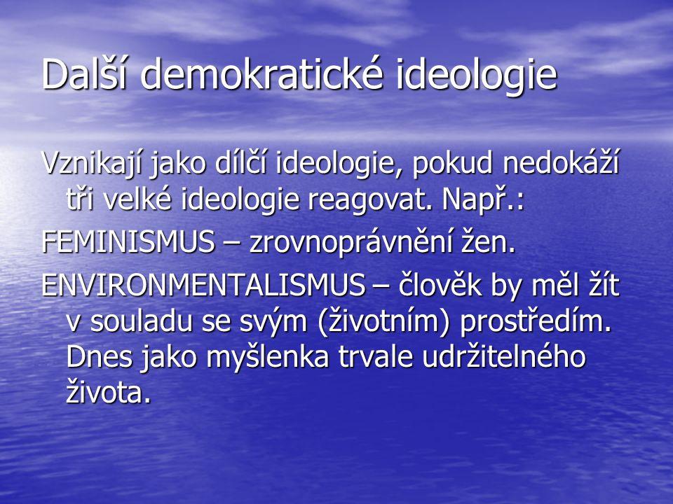 Další demokratické ideologie Vznikají jako dílčí ideologie, pokud nedokáží tři velké ideologie reagovat. Např.: FEMINISMUS – zrovnoprávnění žen. ENVIR
