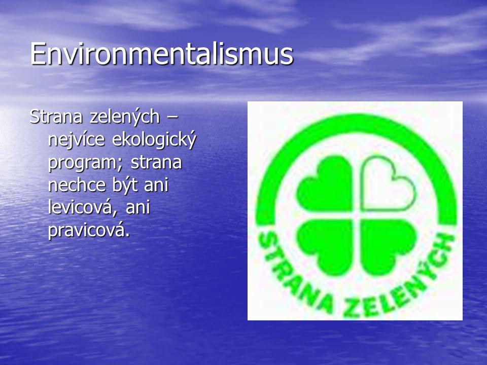 Environmentalismus Strana zelených – nejvíce ekologický program; strana nechce být ani levicová, ani pravicová.