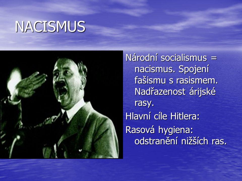 NACISMUS Národní socialismus = nacismus. Spojení fašismu s rasismem. Nadřazenost árijské rasy. Hlavní cíle Hitlera: Rasová hygiena: odstranění nižších