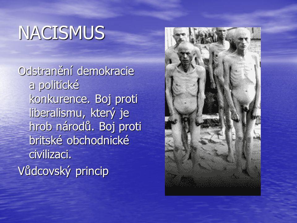 NACISMUS Odstranění demokracie a politické konkurence. Boj proti liberalismu, který je hrob národů. Boj proti britské obchodnické civilizaci. Vůdcovsk