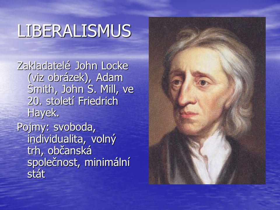 LIBERALISMUS Zakladatelé John Locke (viz obrázek), Adam Smith, John S. Mill, ve 20. století Friedrich Hayek. Pojmy: svoboda, individualita, volný trh,