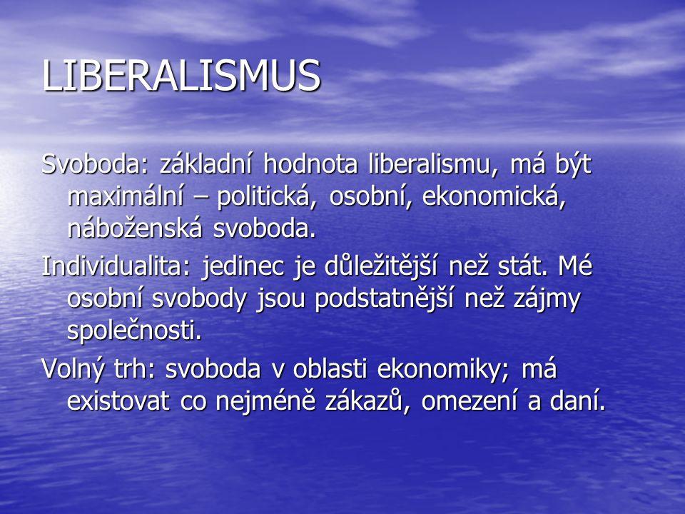 LIBERALISMUS Svoboda: základní hodnota liberalismu, má být maximální – politická, osobní, ekonomická, náboženská svoboda. Individualita: jedinec je dů