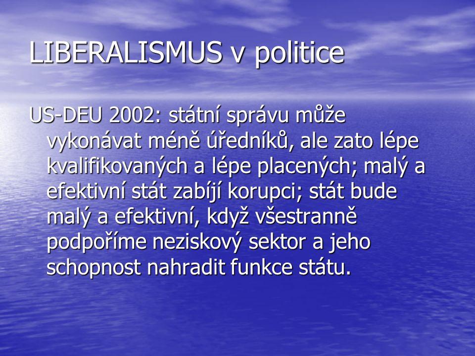 LIBERALISMUS v politice US-DEU 2002: státní správu může vykonávat méně úředníků, ale zato lépe kvalifikovaných a lépe placených; malý a efektivní stát