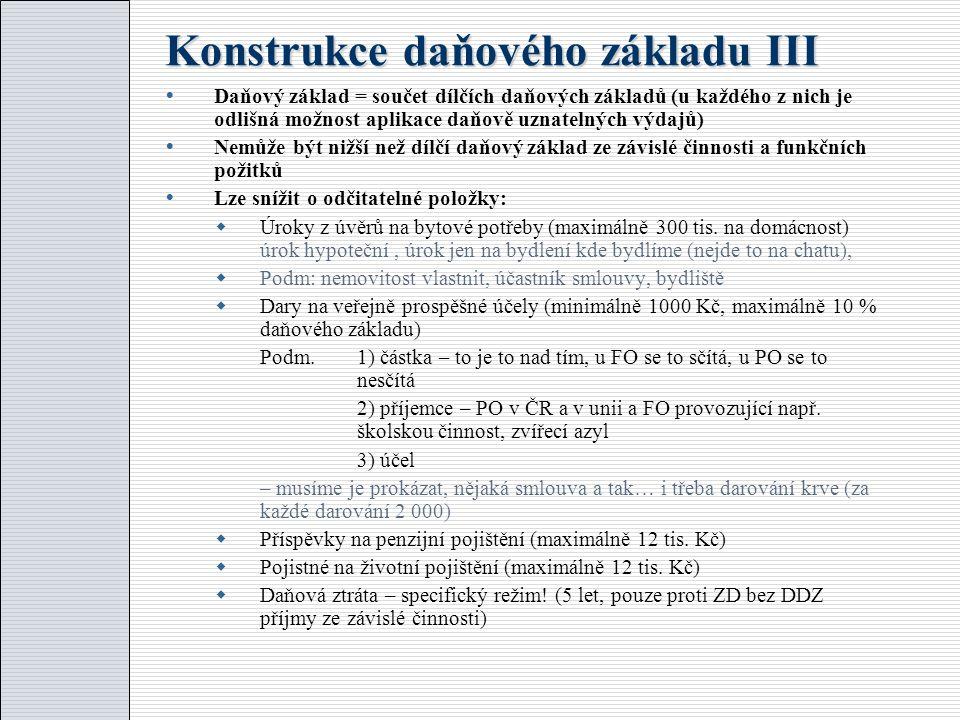 Konstrukce daňového základu III  Daňový základ = součet dílčích daňových základů (u každého z nich je odlišná možnost aplikace daňově uznatelných výd