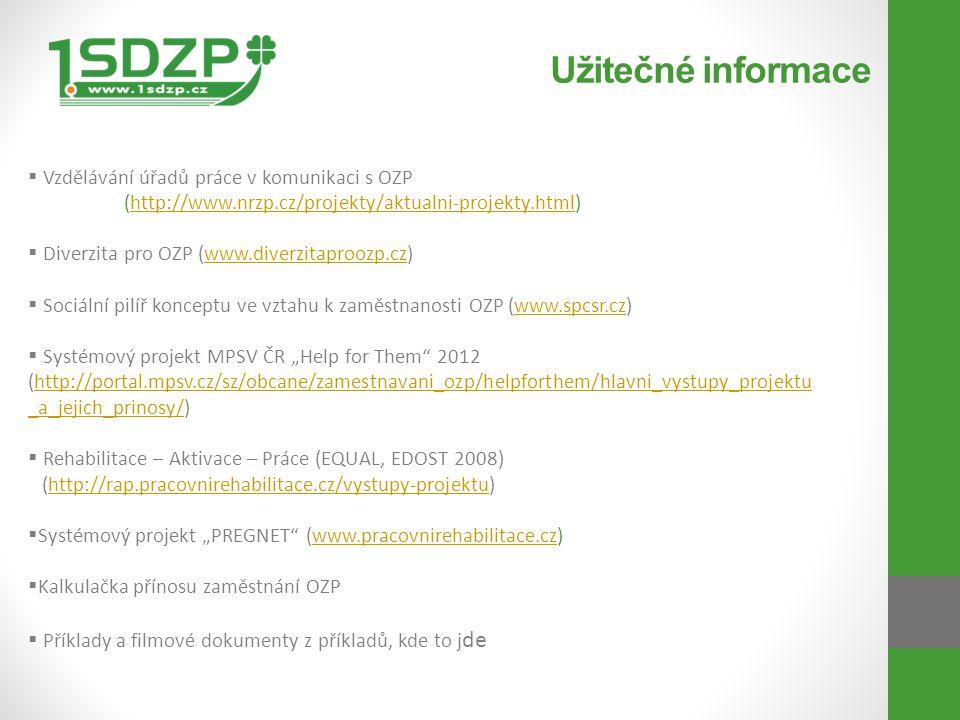 Užitečné informace  Vzdělávání úřadů práce v komunikaci s OZP (http://www.nrzp.cz/projekty/aktualni-projekty.html)http://www.nrzp.cz/projekty/aktualn