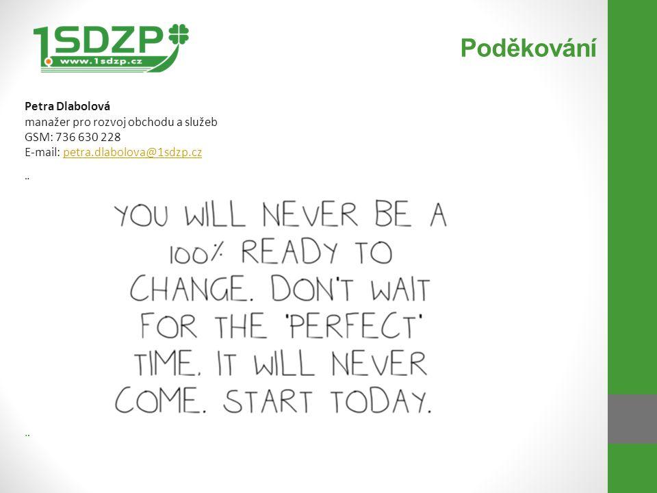 Poděkování Petra Dlabolová manažer pro rozvoj obchodu a služeb GSM: 736 630 228 E-mail: petra.dlabolova@1sdzp.czpetra.dlabolova@1sdzp.cz ¨ ¨
