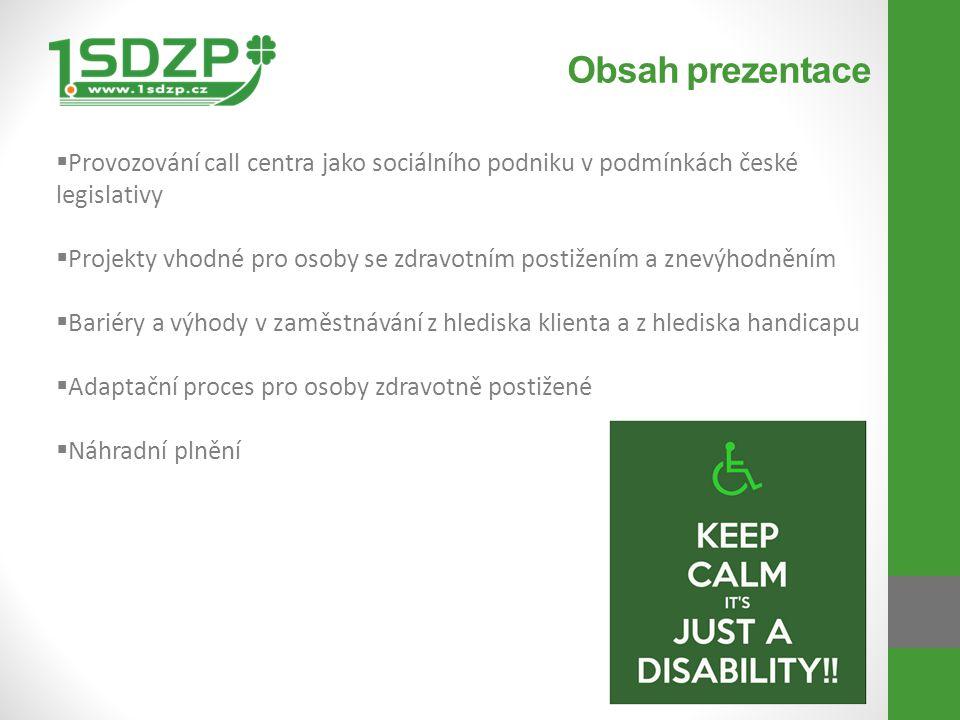 Obsah prezentace  Provozování call centra jako sociálního podniku v podmínkách české legislativy  Projekty vhodné pro osoby se zdravotním postižením