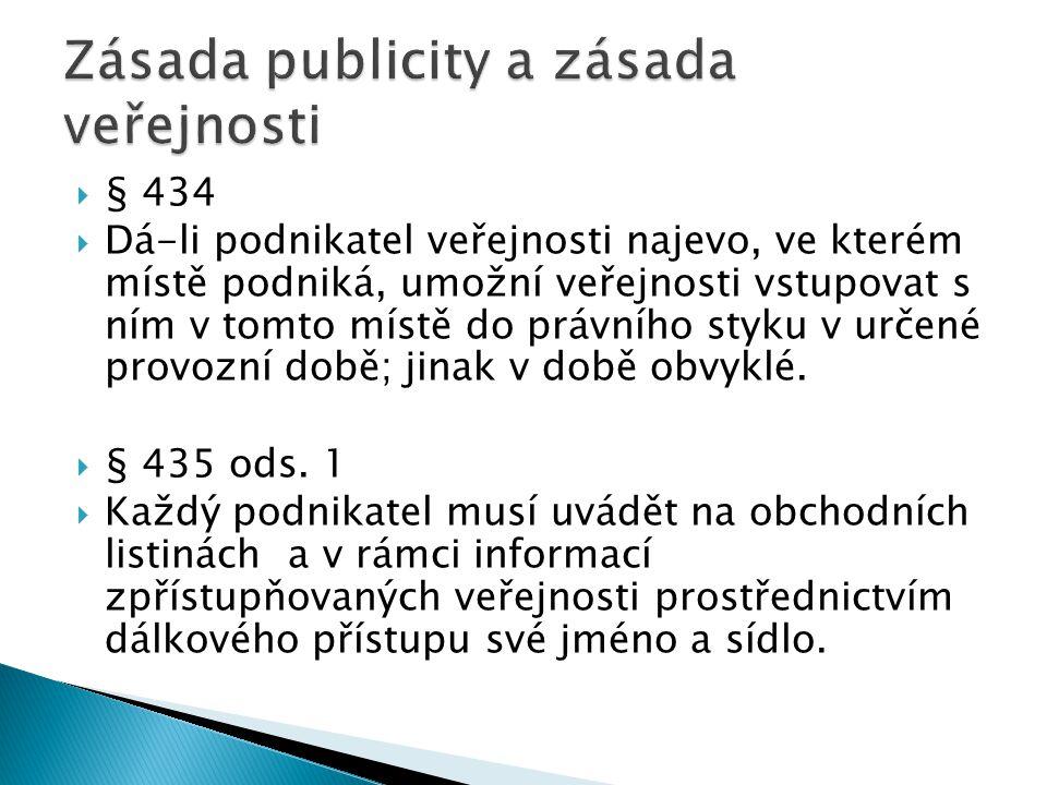 § 434  Dá-li podnikatel veřejnosti najevo, ve kterém místě podniká, umožní veřejnosti vstupovat s ním v tomto místě do právního styku v určené provozní době; jinak v době obvyklé.