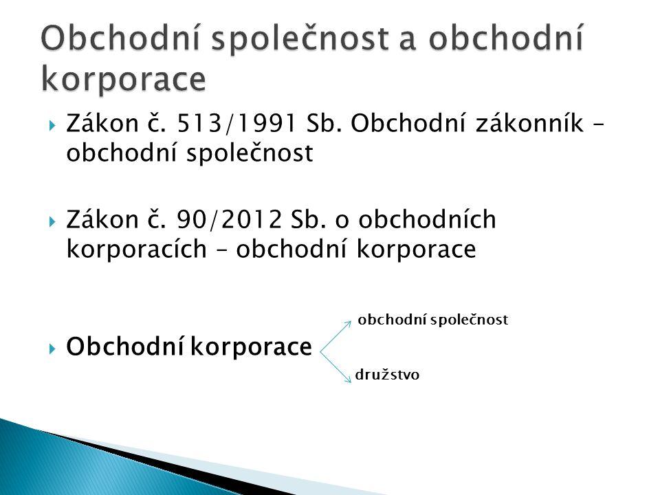  Zákon č. 513/1991 Sb. Obchodní zákonník – obchodní společnost  Zákon č.
