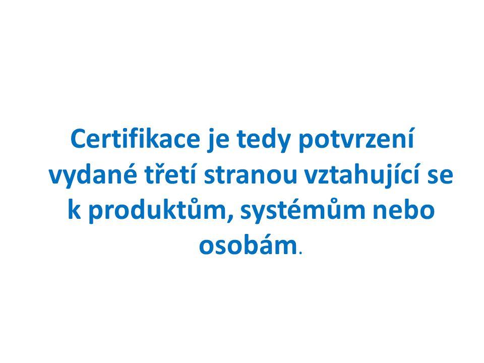 Autorizovaný akreditovaný subjekt vydá certifikát, který prokazuje shodu s definovanými požadavky.