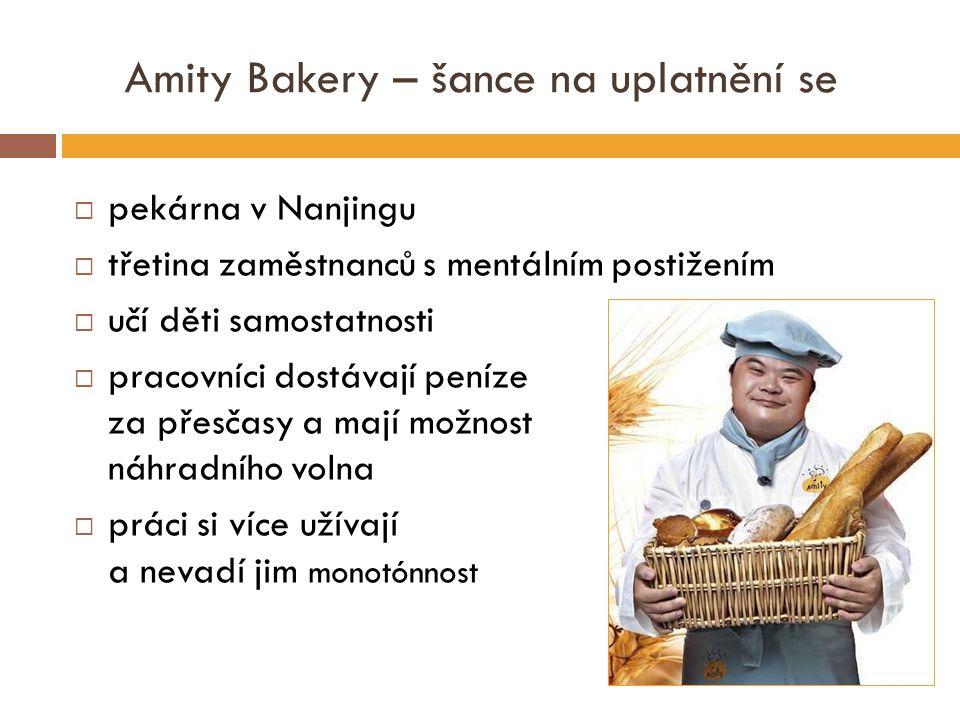Amity Bakery – šance na uplatnění se  pekárna v Nanjingu  třetina zaměstnanců s mentálním postižením  učí děti samostatnosti  pracovníci dostávají peníze za přesčasy a mají možnost náhradního volna  práci si více užívají a nevadí jim monotónnost
