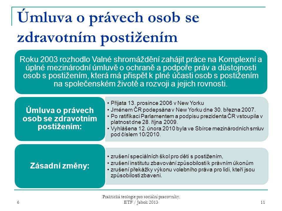 Úmluva o právech osob se zdravotním postižením Roku 2003 rozhodlo Valné shromáždění zahájit práce na Komplexní a úplné mezinárodní úmluvě o ochraně a