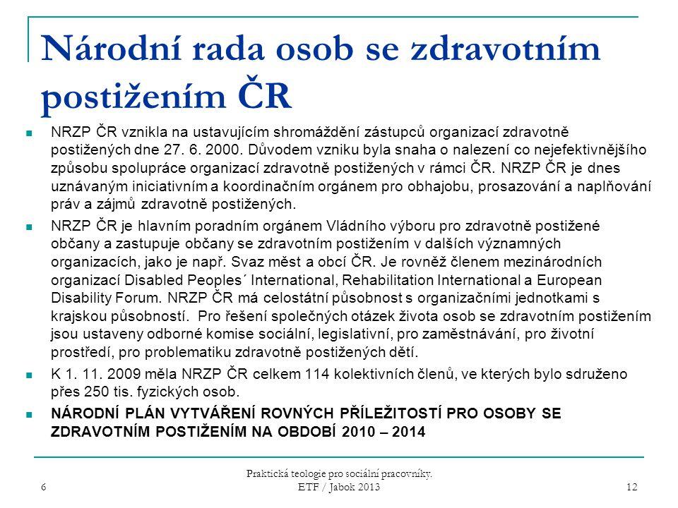 Národní rada osob se zdravotním postižením ČR NRZP ČR vznikla na ustavujícím shromáždění zástupců organizací zdravotně postižených dne 27. 6. 2000. Dů