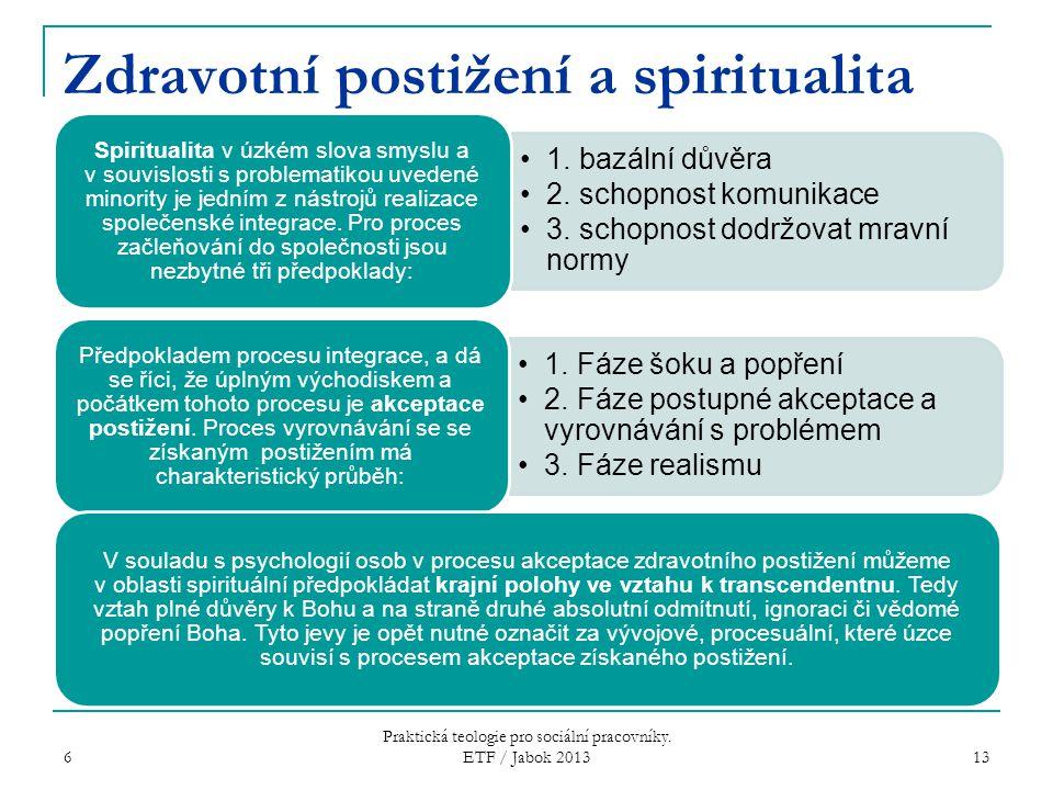 6 Praktická teologie pro sociální pracovníky. ETF / Jabok 2013 13 Zdravotní postižení a spiritualita 1. bazální důvěra 2. schopnost komunikace 3. scho
