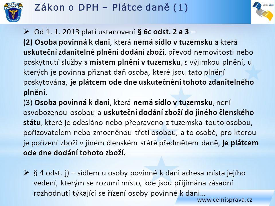 Zákon o DPH – Plátce daně (1) www.celnisprava.cz  Od 1.