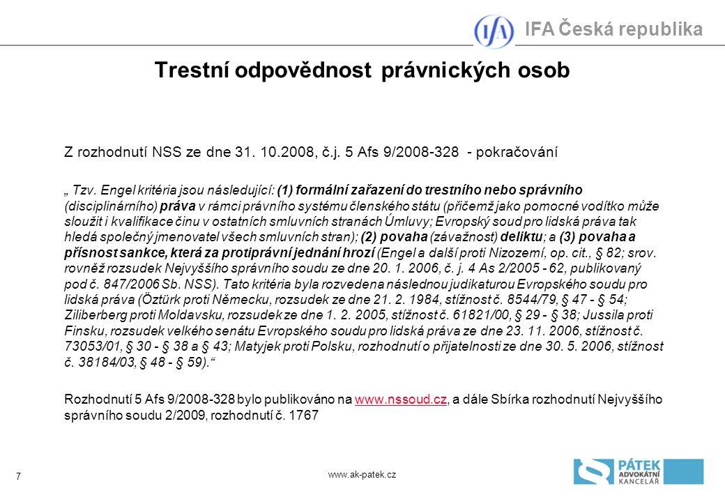 IFA Česká republika Trestní odpovědnost právnických osob Problematické otázky 2 Které sankce z d.ř.