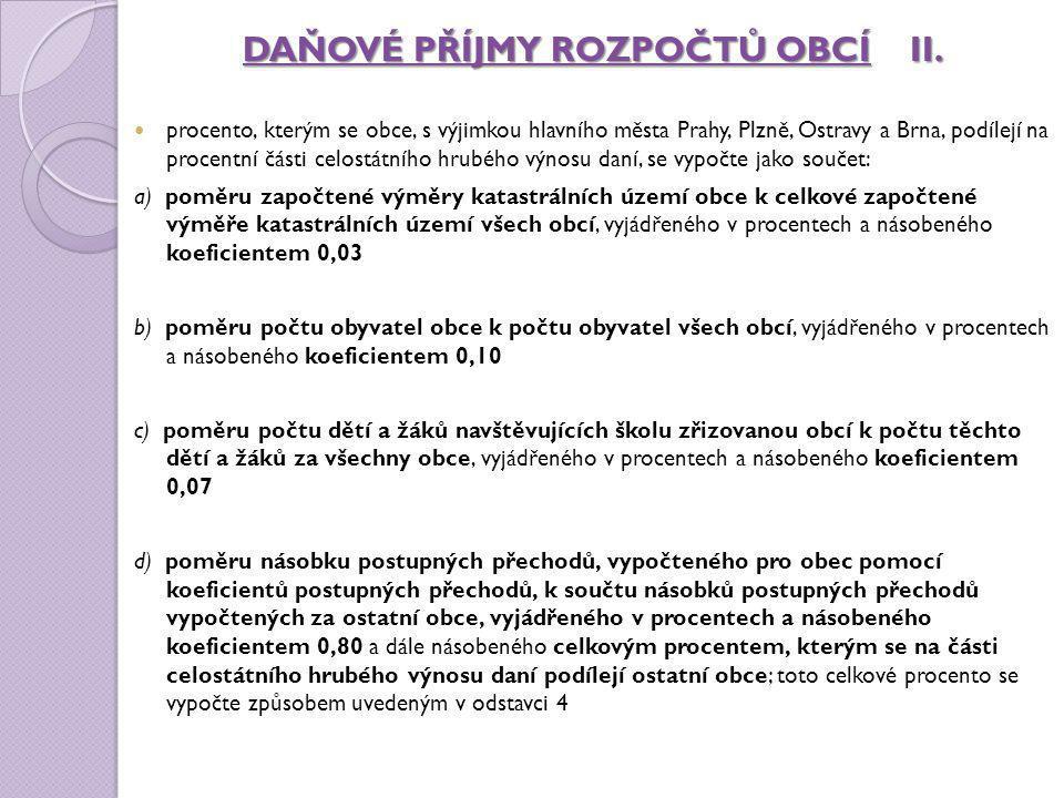 DAŇOVÉ PŘÍJMY ROZPOČTŮ OBCÍII. DAŇOVÉ PŘÍJMY ROZPOČTŮ OBCÍ II. procento, kterým se obce, s výjimkou hlavního města Prahy, Plzně, Ostravy a Brna, podíl