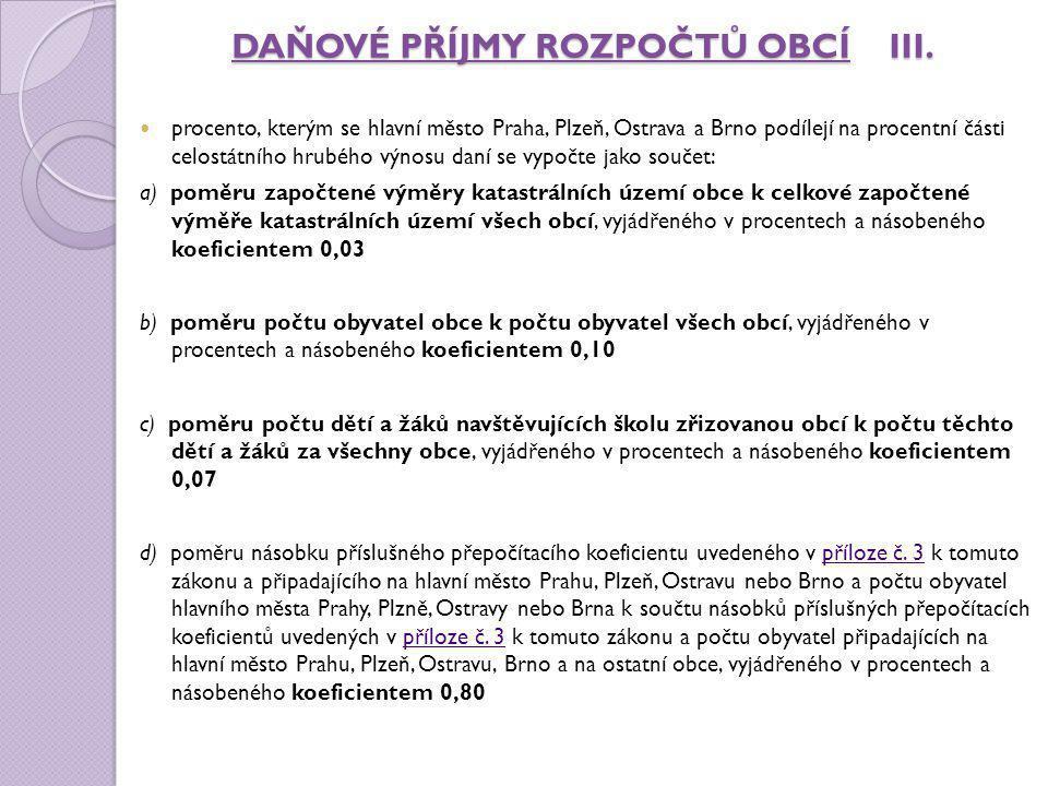 DAŇOVÉ PŘÍJMY ROZPOČTŮ OBCÍ III. procento, kterým se hlavní město Praha, Plzeň, Ostrava a Brno podílejí na procentní části celostátního hrubého výnosu