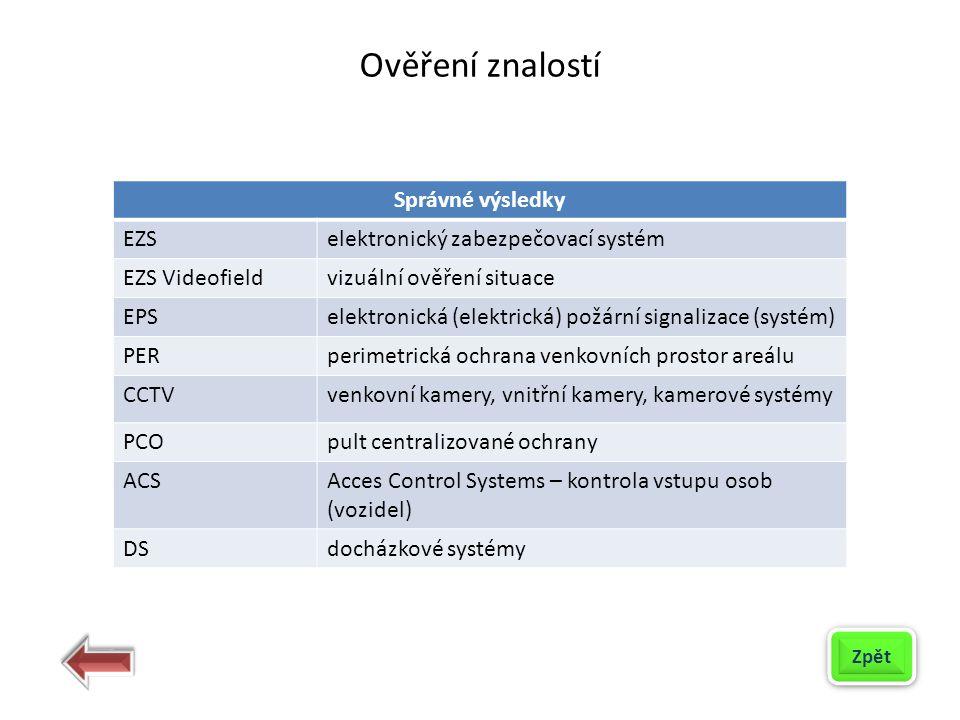 Správné výsledky EZSelektronický zabezpečovací systém EZS Videofieldvizuální ověření situace EPSelektronická (elektrická) požární signalizace (systém)