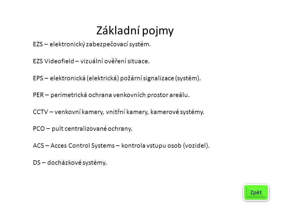 Základní pojmy EZS – elektronický zabezpečovací systém. EZS Videofield – vizuální ověření situace. EPS – elektronická (elektrická) požární signalizace