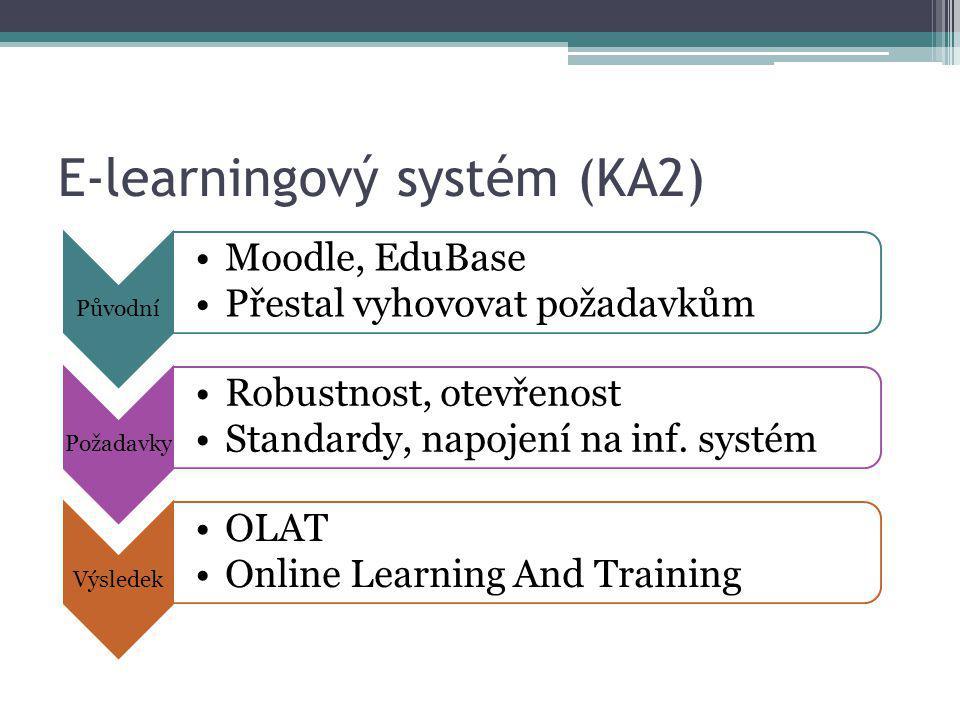 E-learningový systém (KA2) Původní Moodle, EduBase Přestal vyhovovat požadavkům Požadavky Robustnost, otevřenost Standardy, napojení na inf. systém Vý