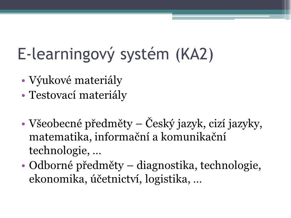 E-learningový systém (KA2) Výukové materiály Testovací materiály Všeobecné předměty – Český jazyk, cizí jazyky, matematika, informační a komunikační t