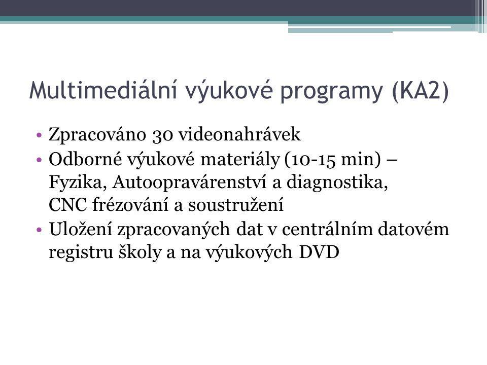 Multimediální výukové programy (KA2) Zpracováno 30 videonahrávek Odborné výukové materiály (10-15 min) – Fyzika, Autoopravárenství a diagnostika, CNC frézování a soustružení Uložení zpracovaných dat v centrálním datovém registru školy a na výukových DVD