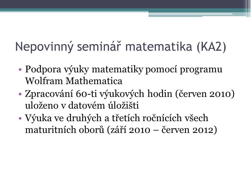 Nepovinný seminář matematika (KA2) Podpora výuky matematiky pomocí programu Wolfram Mathematica Zpracování 60-ti výukových hodin (červen 2010) uloženo v datovém úložišti Výuka ve druhých a třetích ročnících všech maturitních oborů (září 2010 – červen 2012)