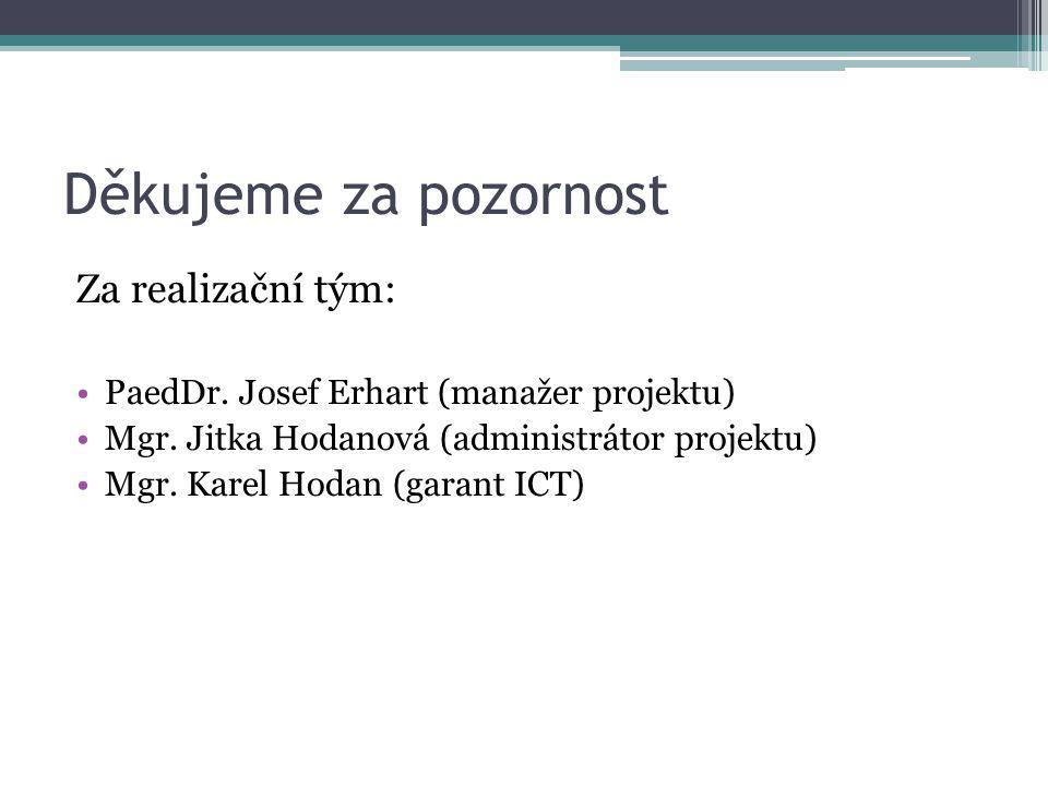Děkujeme za pozornost Za realizační tým: PaedDr. Josef Erhart (manažer projektu) Mgr. Jitka Hodanová (administrátor projektu) Mgr. Karel Hodan (garant