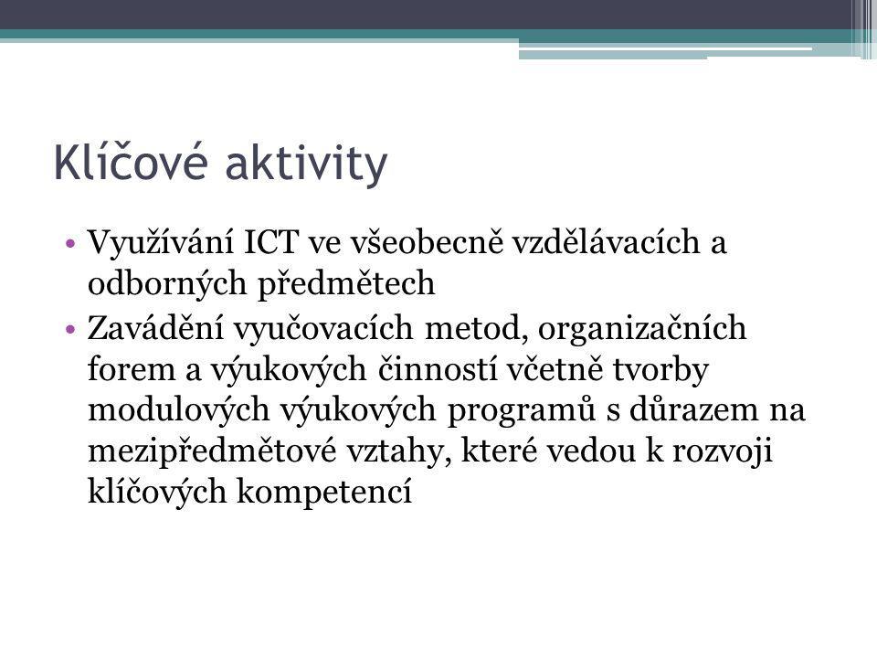 Klíčové aktivity Využívání ICT ve všeobecně vzdělávacích a odborných předmětech Zavádění vyučovacích metod, organizačních forem a výukových činností včetně tvorby modulových výukových programů s důrazem na mezipředmětové vztahy, které vedou k rozvoji klíčových kompetencí