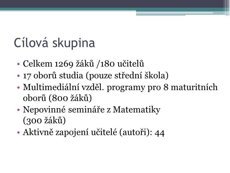 Cílová skupina Celkem 1269 žáků /180 učitelů 17 oborů studia (pouze střední škola) Multimediální vzděl. programy pro 8 maturitních oborů (800 žáků) Ne
