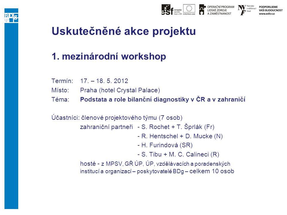 Uskutečněné akce projektu 1. mezinárodní workshop Termín:17. – 18. 5. 2012 Místo: Praha (hotel Crystal Palace) Téma:Podstata a role bilanční diagnosti