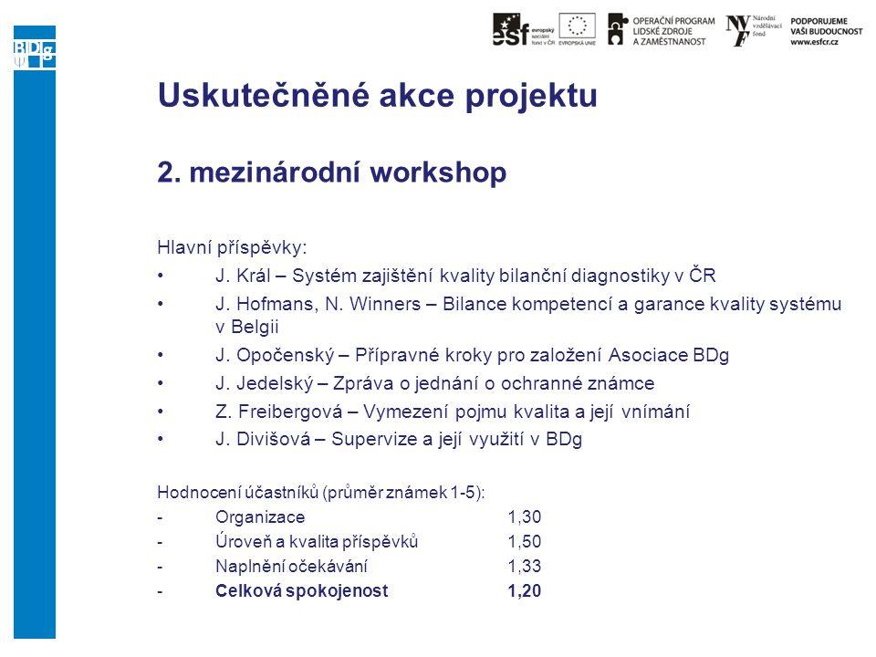 Uskutečněné akce projektu 2. mezinárodní workshop Hlavní příspěvky: J. Král – Systém zajištění kvality bilanční diagnostiky v ČR J. Hofmans, N. Winner