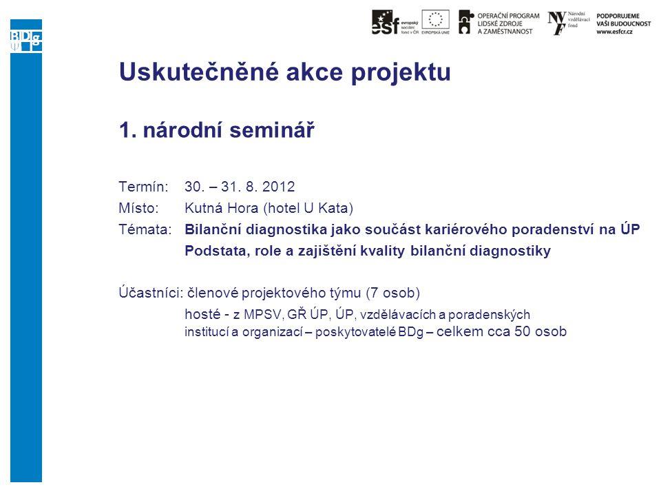 Uskutečněné akce projektu 1. národní seminář Termín:30. – 31. 8. 2012 Místo: Kutná Hora (hotel U Kata) Témata:Bilanční diagnostika jako součást kariér