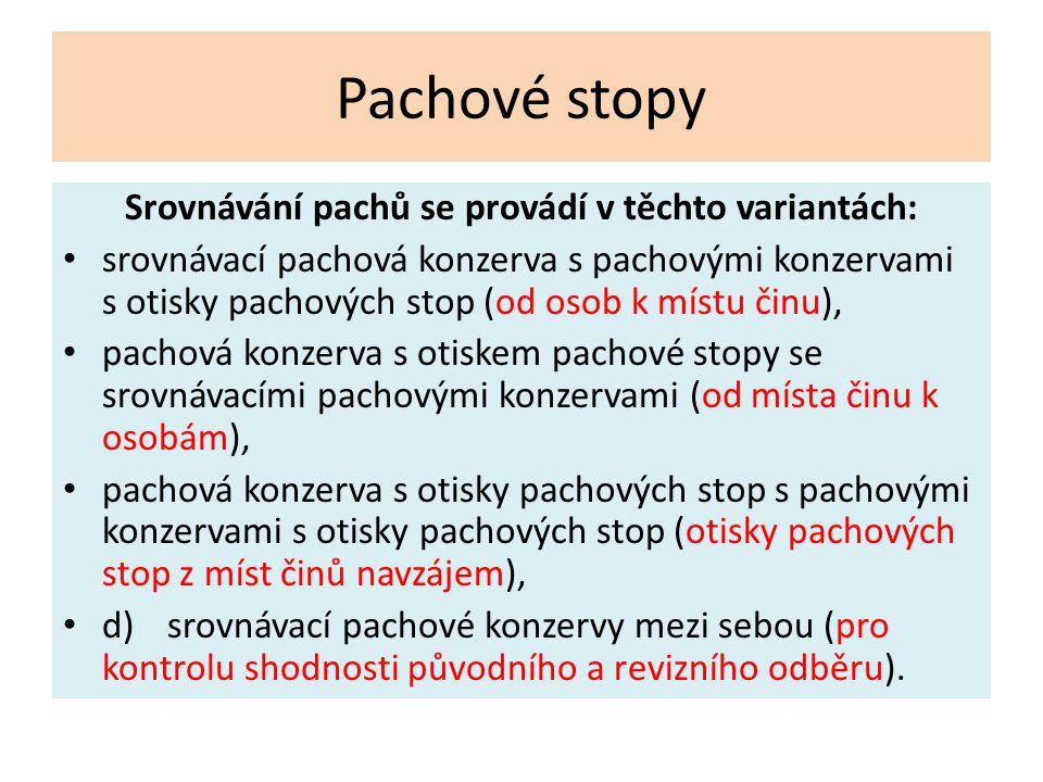 Pachové stopy Srovnávání pachů se provádí v těchto variantách: srovnávací pachová konzerva s pachovými konzervami s otisky pachových stop (od osob k m